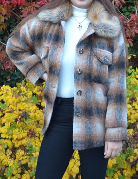 Checkered Jacket Faux fur jas | Beige