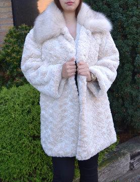 Faux fur coat | 62003 Beige