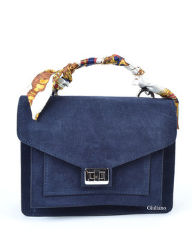 Suède leather handbag | Scarf