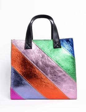 Leather handbag | Square  - Metallic Multi-color
