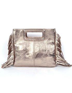 Leather shoulderbag   Fringes metallic
