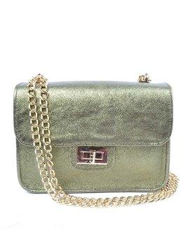 Leather shoulderbag metallic
