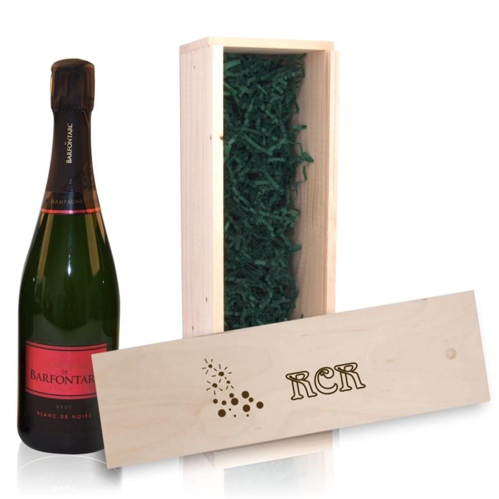 Bouteille de Champagne avec caisse en bois