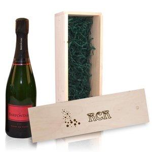 Fles Champagne in houten kist