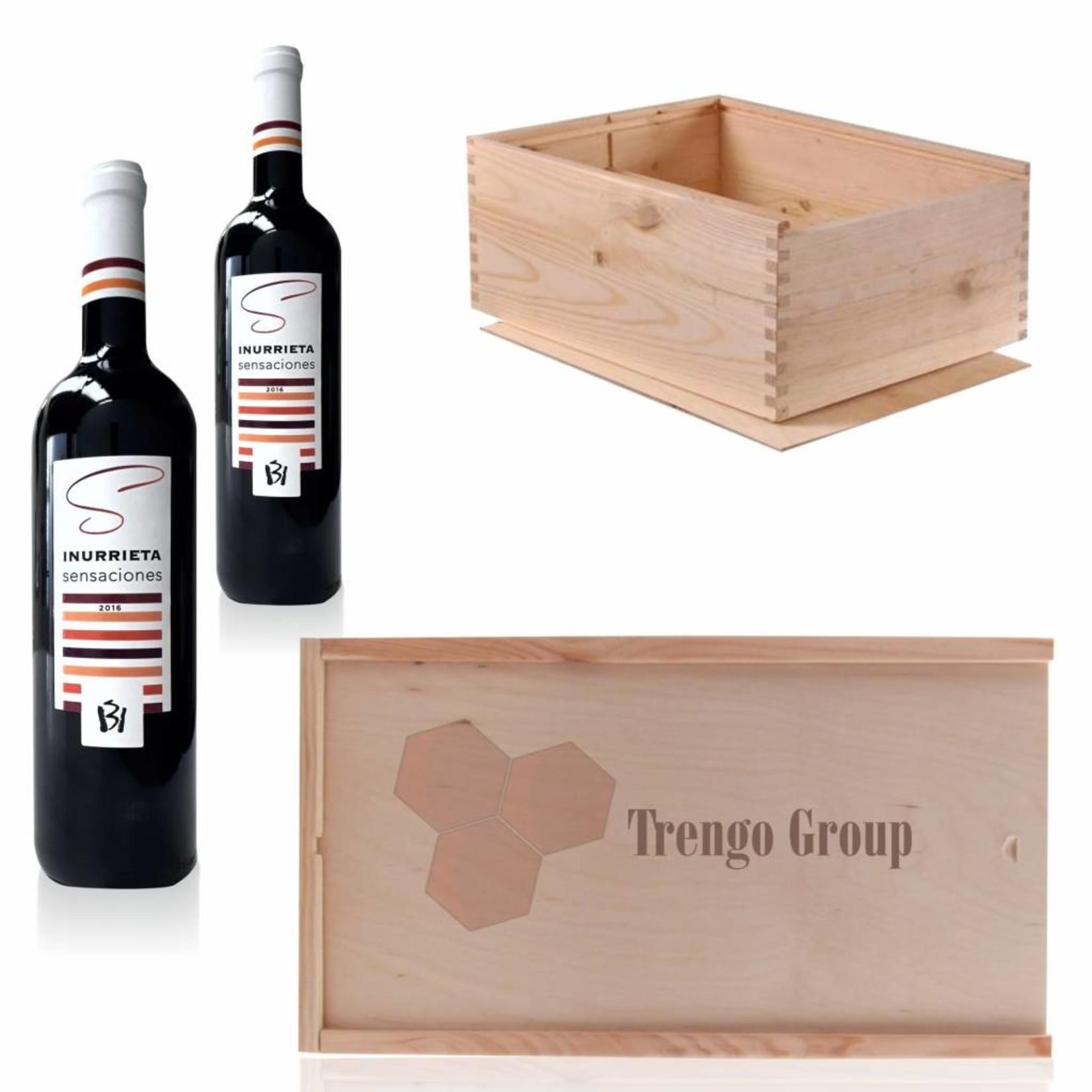Caisse à vin en bois pour 2 bouteilles