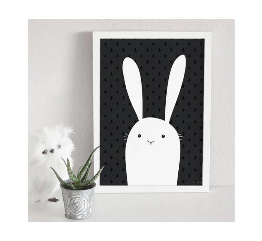 zwart/wit poster konijn