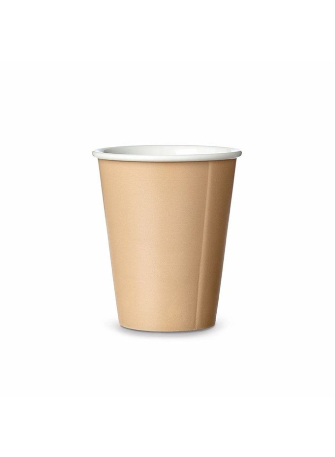 Viva Scandinavia zandkleurige koffiebeker van porselein, grappig ontwerp