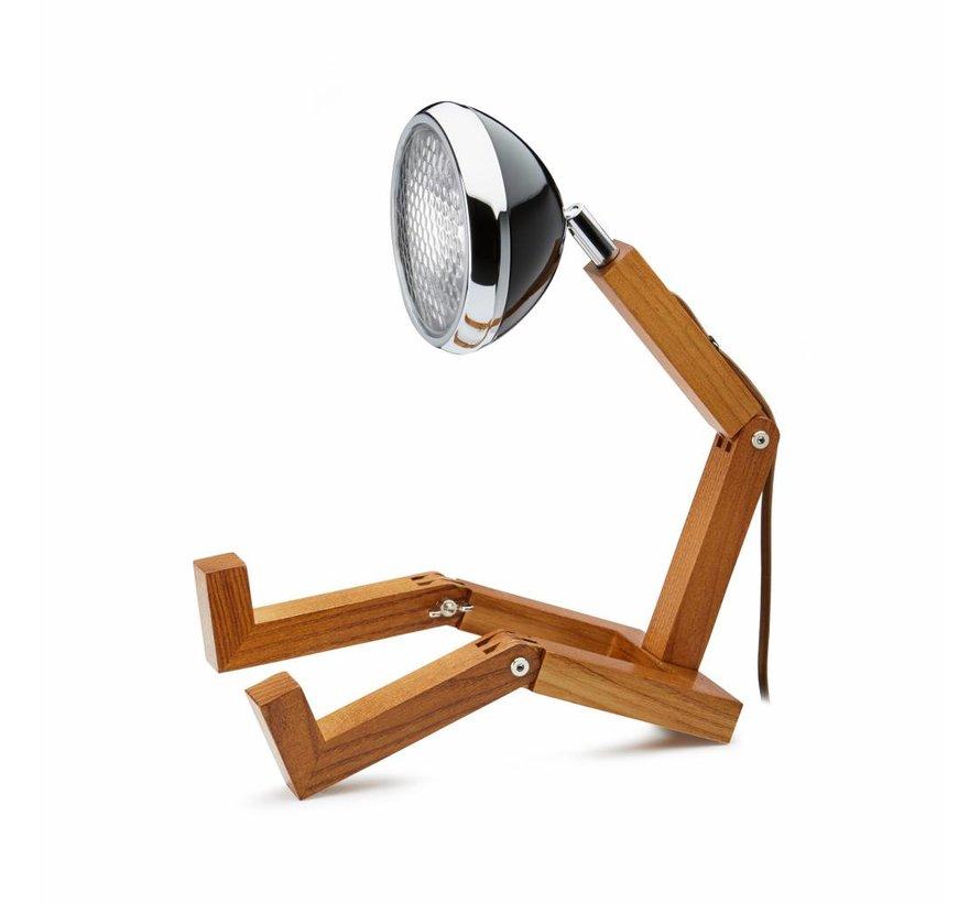 Holzlampe mit schwarzem Retro Lampenschirm