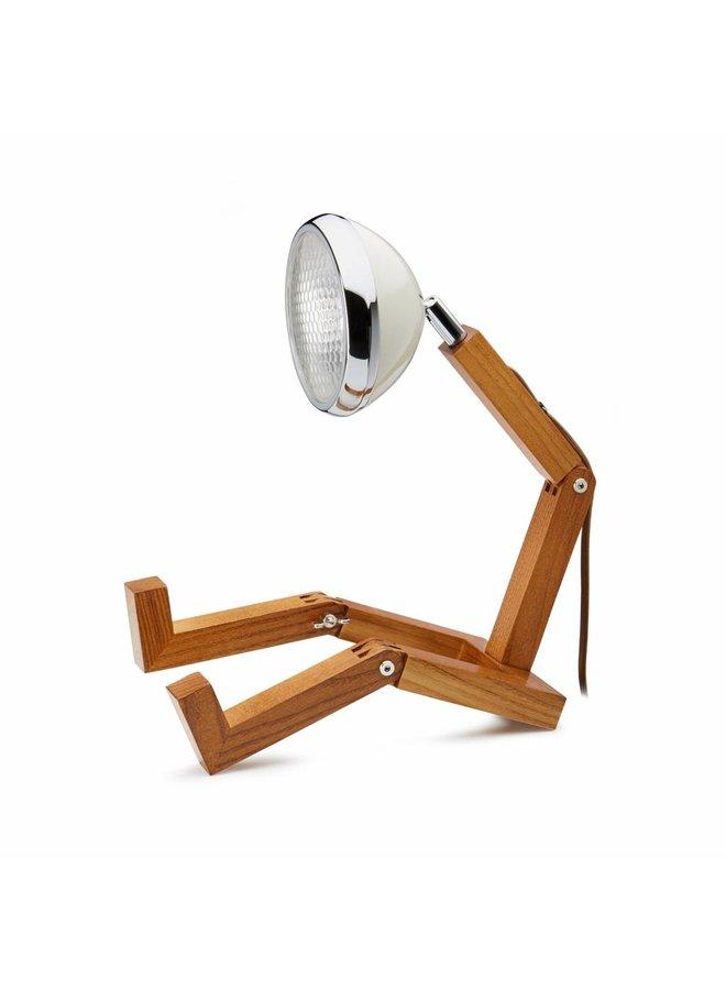 Holzlampe mit weißen Retro-Lampen