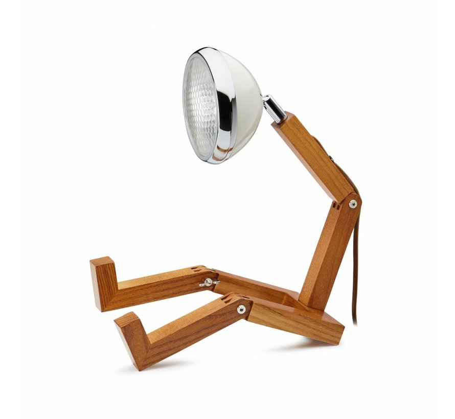 houten lamp met witte retro lampen