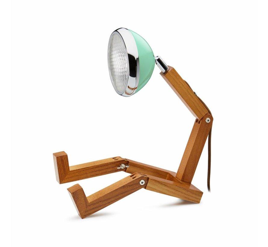 houten robotlamp met mint lampenkap