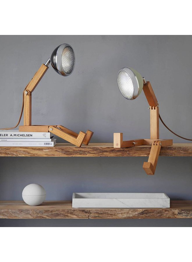 wooden lamp with black retro lampshade