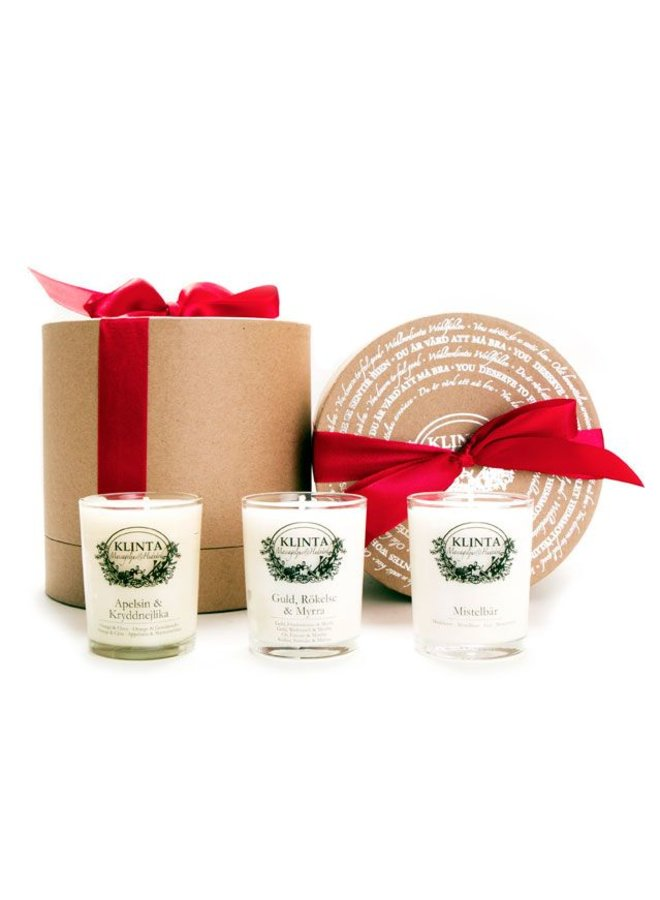 Christmas collection three scented candles in gift box