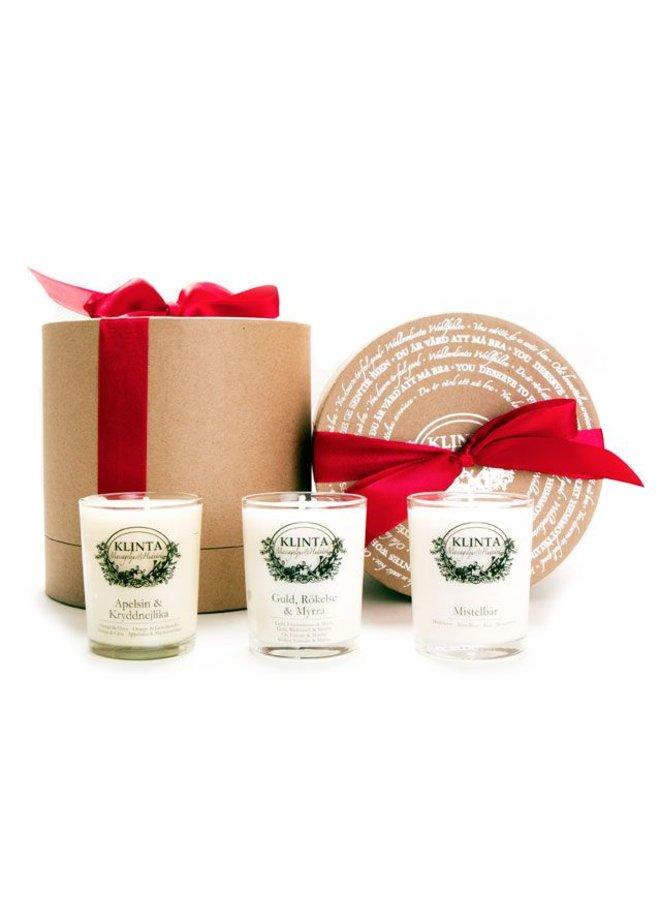 Geschenkbox drei Weihnachtsduftkerzen