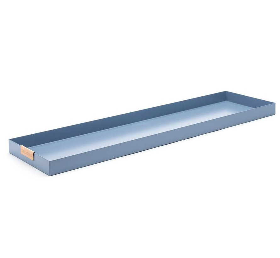 blauw aluminium dienblad, afmeting 15 x 55 cm