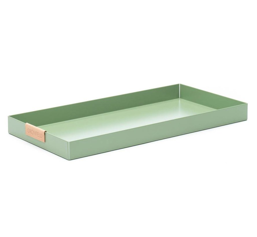 green aluminum tray, size 15 x 30 cm