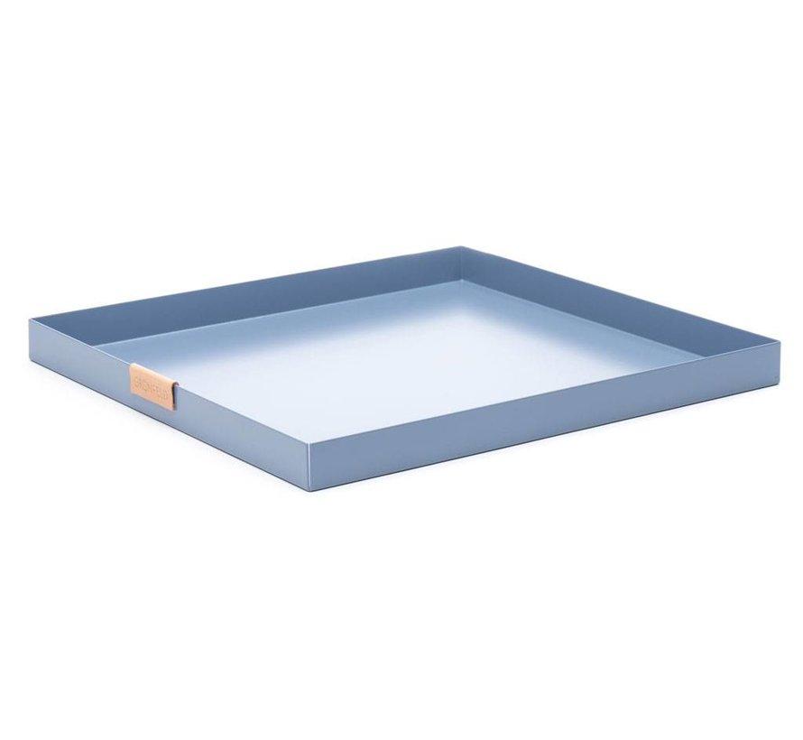 blauw aluminium dienblad, afmeting 30 x 30 cm