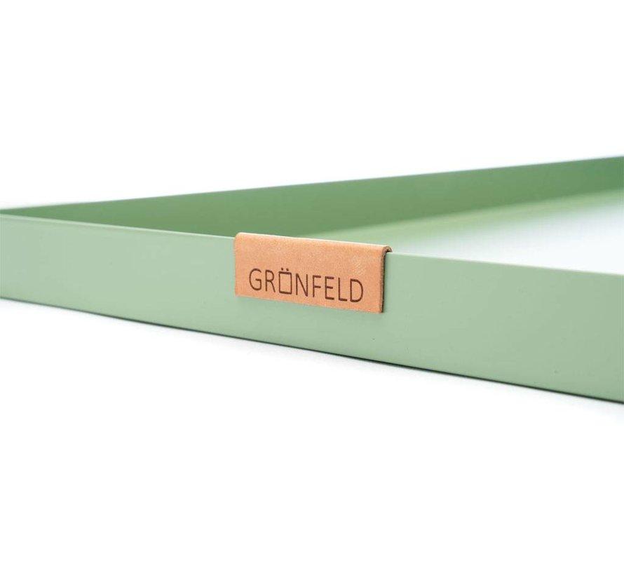 groen aluminium dienblad, afmeting 30 x 30 cm