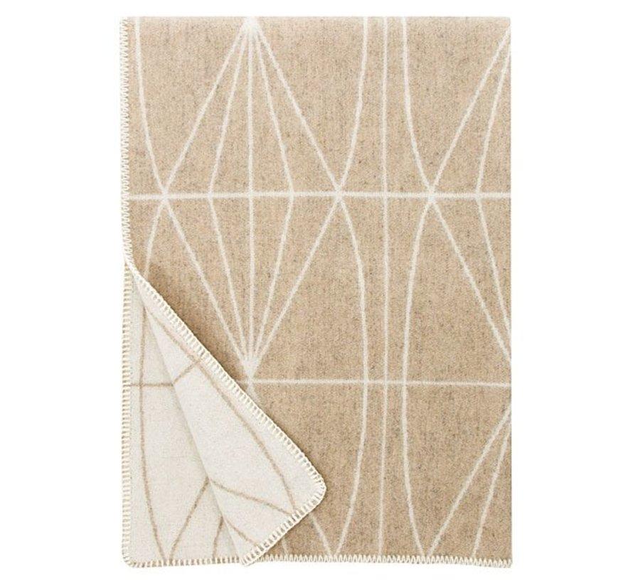 100% wollen deken/plaid beige-wit Kehrä 130 x 180 cm