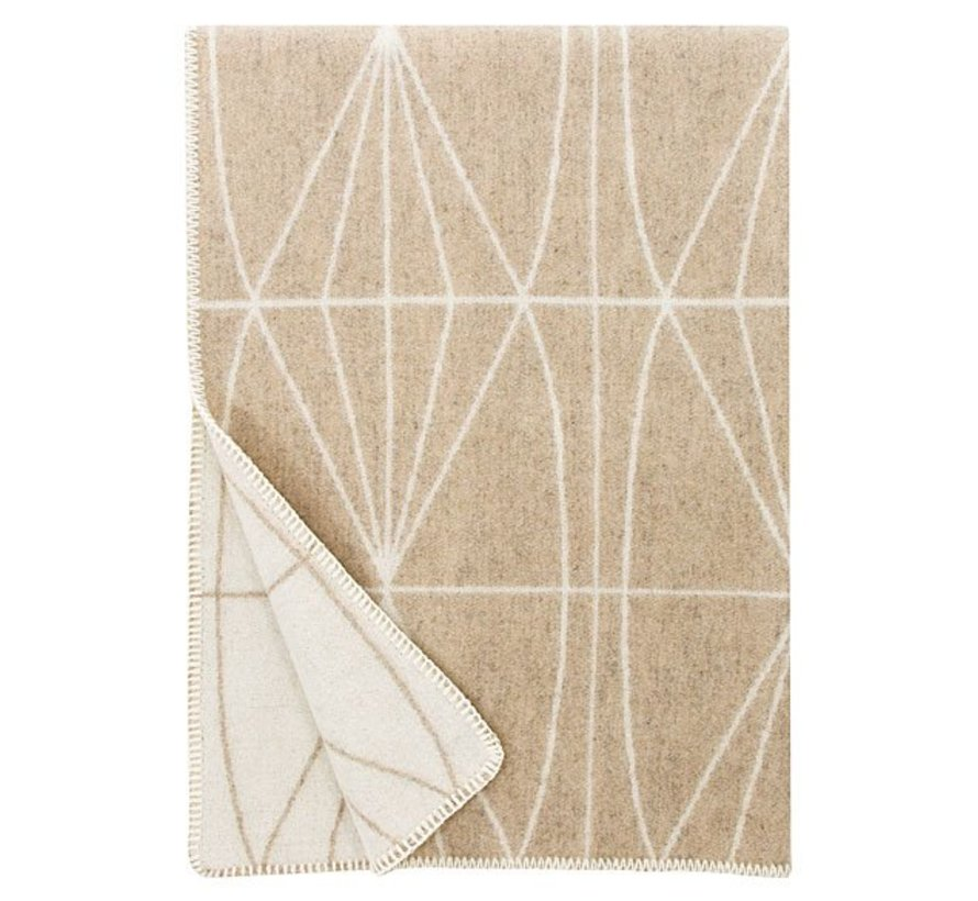 100% woolen blanket / plaid beige-white Kehrä 130 x 180 cm