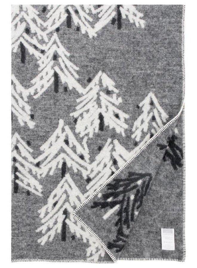 100% wool blanket / plaid dark grey-white Kuusi 130 x 200 cm