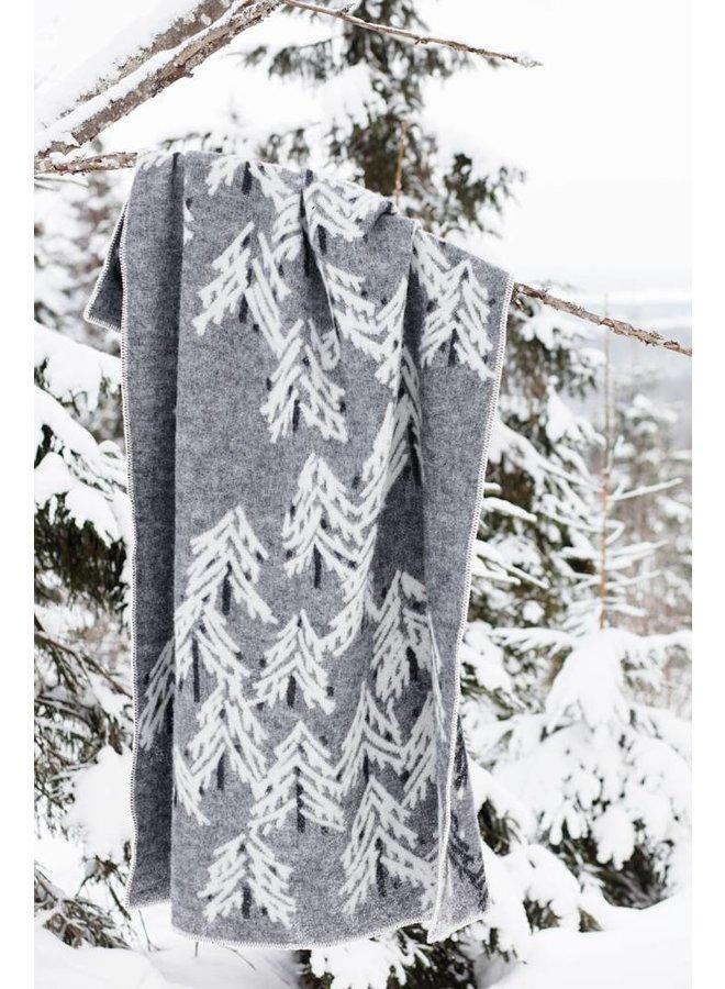 100% wollen deken/plaid donkergrijs-wit Kuusi 130 x 200 cm