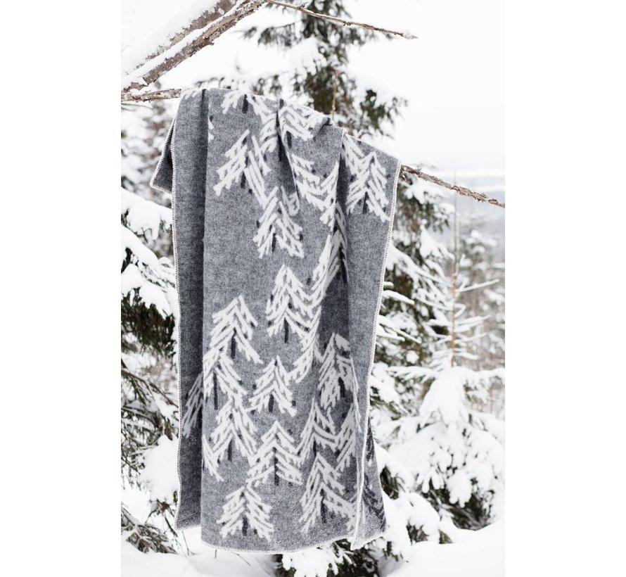 100% wollen deken/plaid donkergrijs-wit Kuuvi 130 x 200 cm