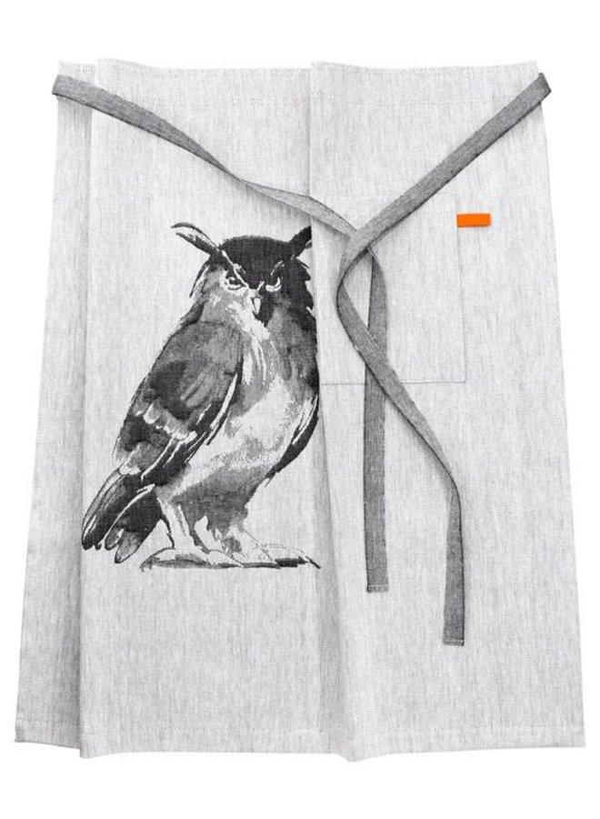 sloof apron owl offwhite / black