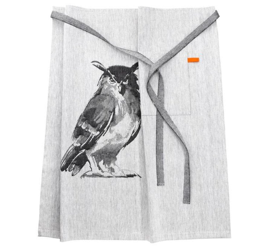 owl apron in linen and cotton