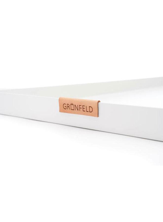 Grönfeld white aluminum tray, size 15 x 55 cm