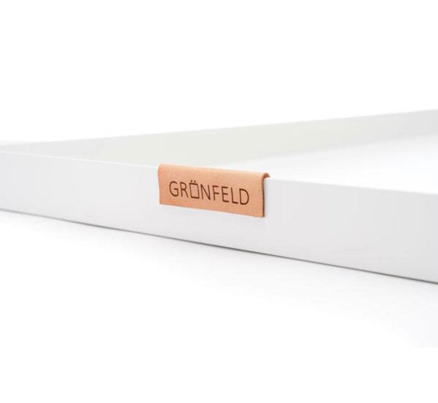 weißer Aluminium Tablett, Größe 15 x 55 cm