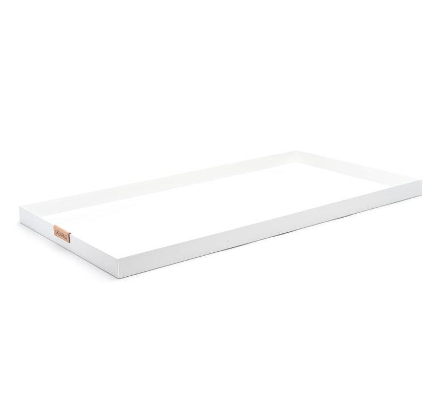 witte aluminium dienblad, afmeting 15 x 55 cm