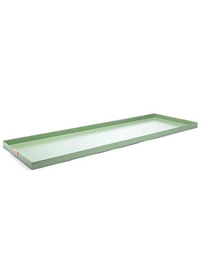 groene aluminium dienblad, afmeting 15 x 55 cm