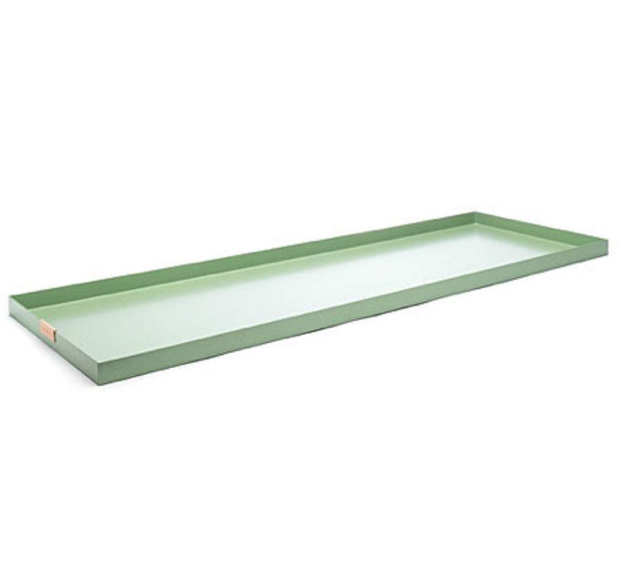 grüner Aluminium Tablett, Größe 15 x 55 cm