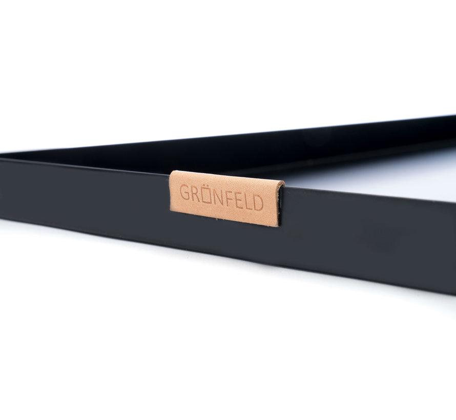 zwarte aluminium dienblad, afmeting 30 x 55 cm