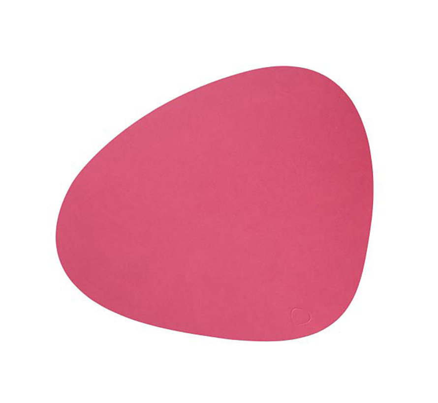 placemat Curve L in leather, raspberry