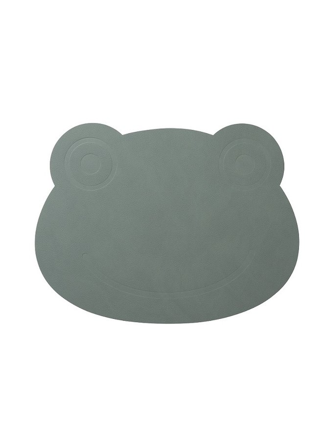 leather children's placemat frog in green