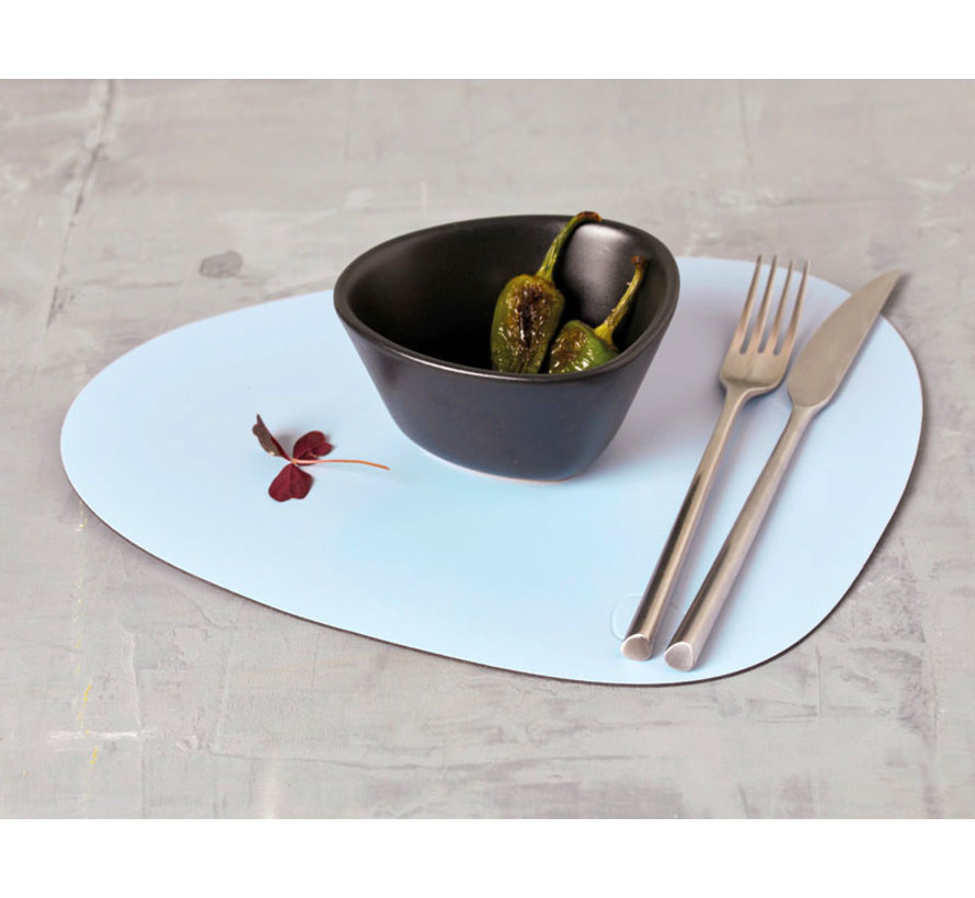 placemat Curve L in Leather, sky blue