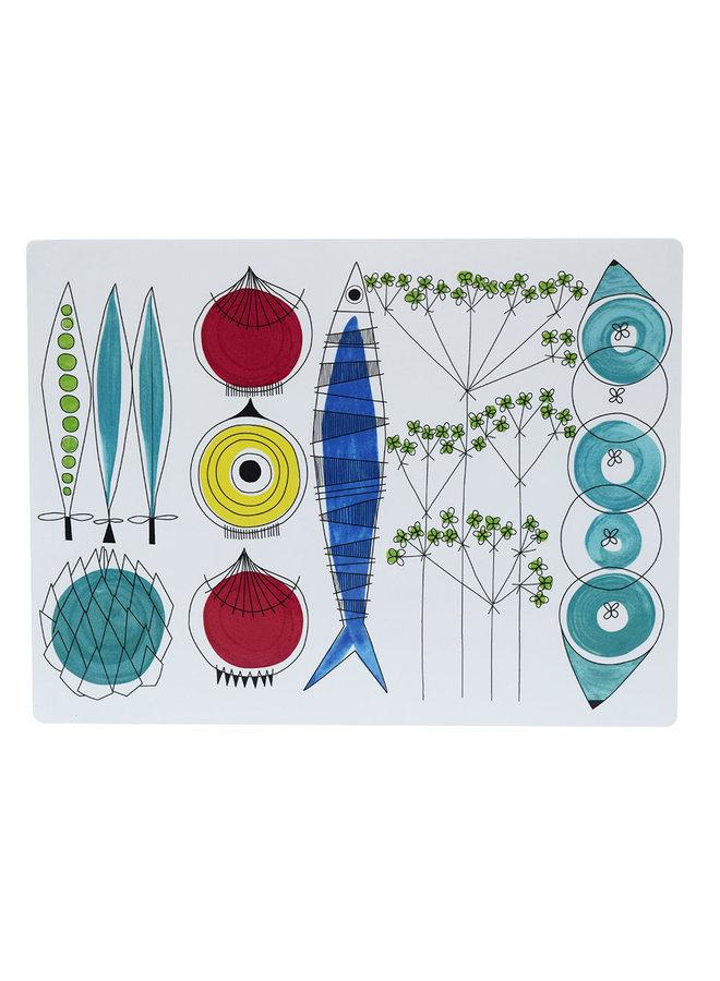 Almedahls Picknick placemat met groenten en vis patroon