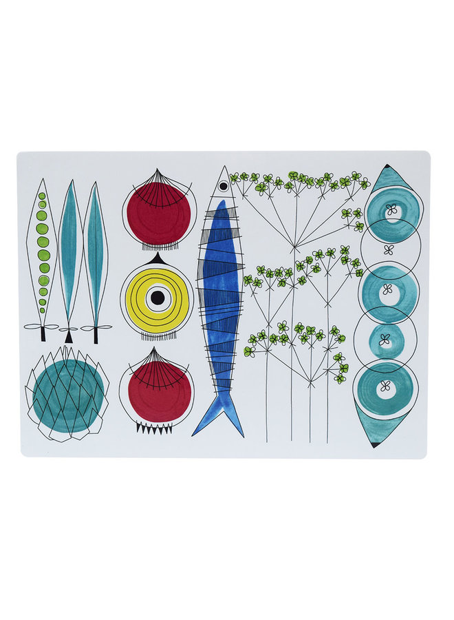 Almedahls Picnic place mat with vegetables and fish pattern