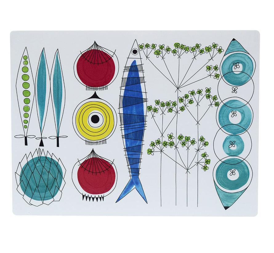 Picknick placemat met groenten en vis patroon
