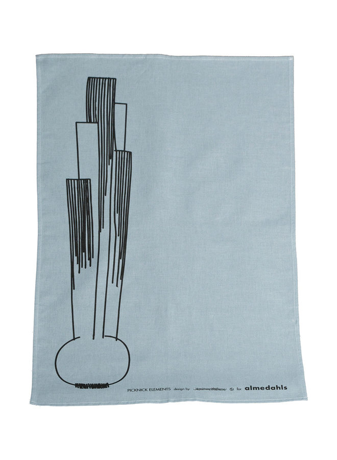 tea towel Picnic with onion pattern in soft blue