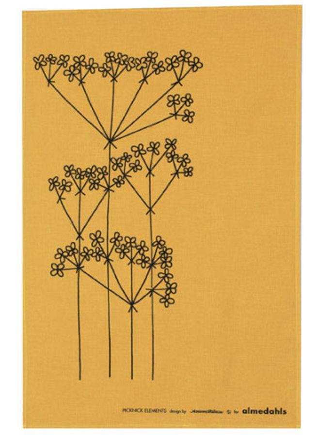 Almedahls ocher colored tea towel Picnic Elements flower pattern