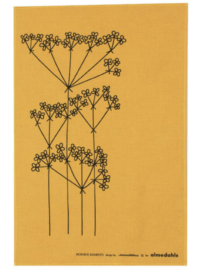 tea towel Picnic Elements ocher flower