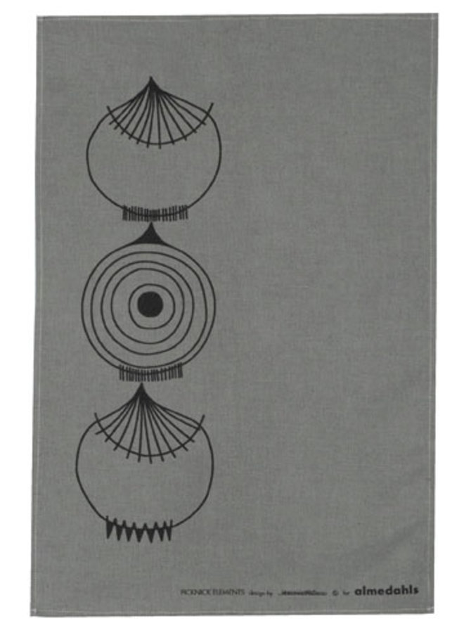 grey tea towel Picnic Elements with onions pattern