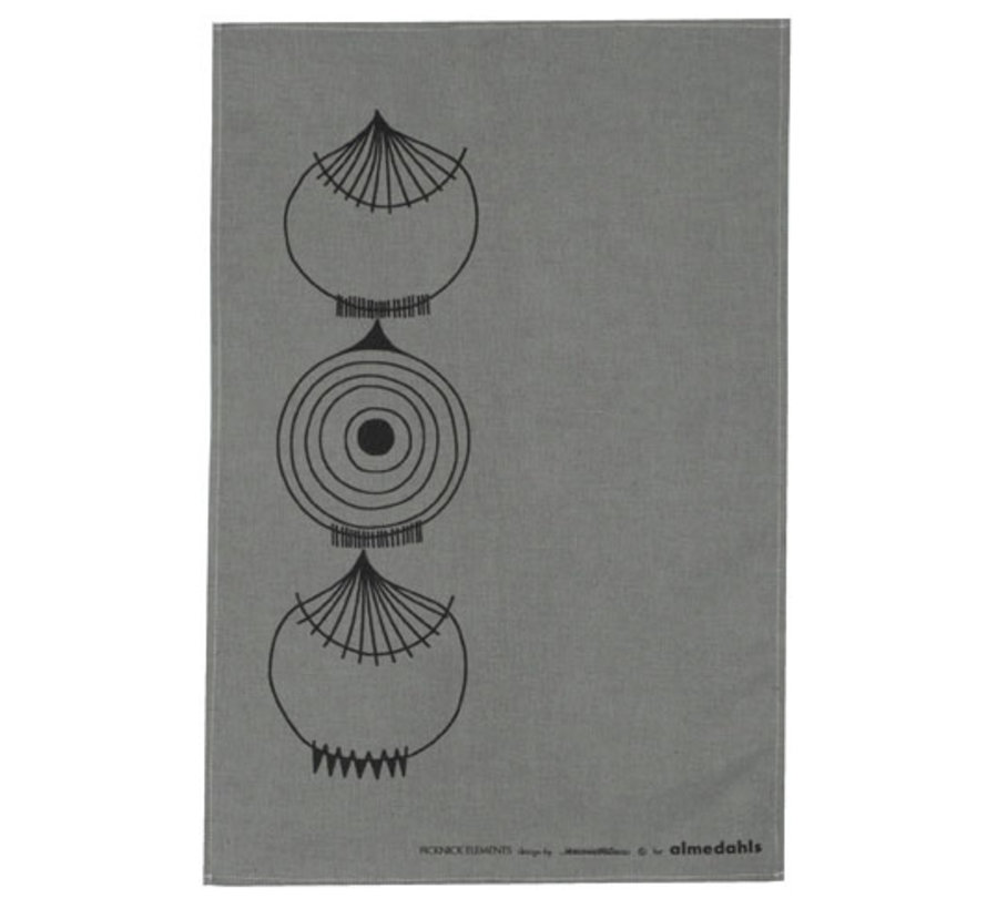 graues Geschirrtuch Picnic Elements mit Zwiebelmuster