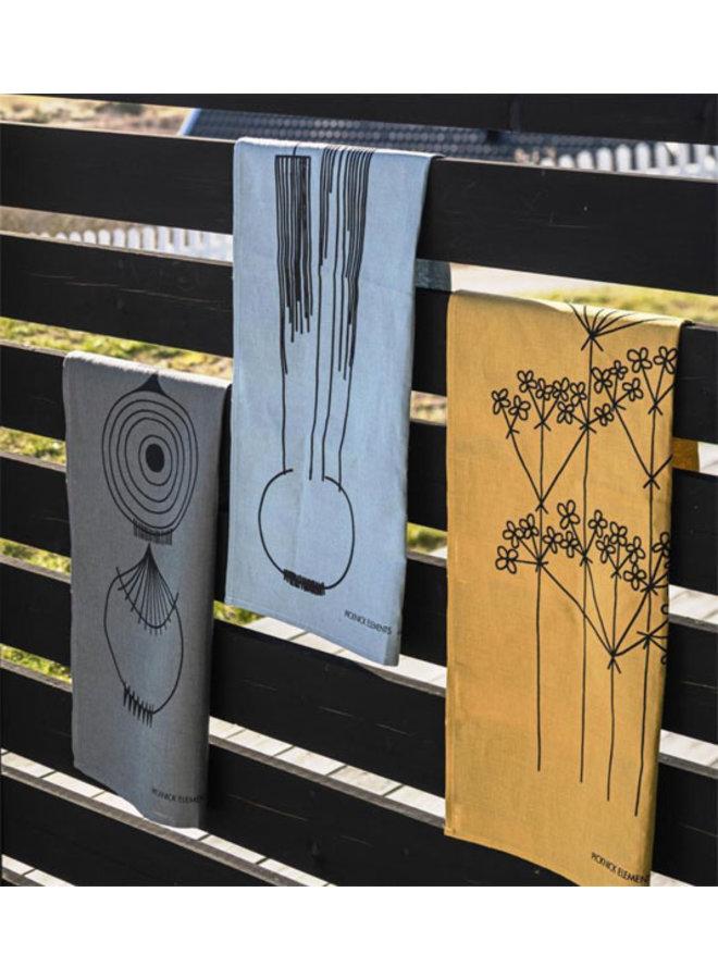 Almedahls okerkleurige theedoek Picknick Elements bloemenpatroon