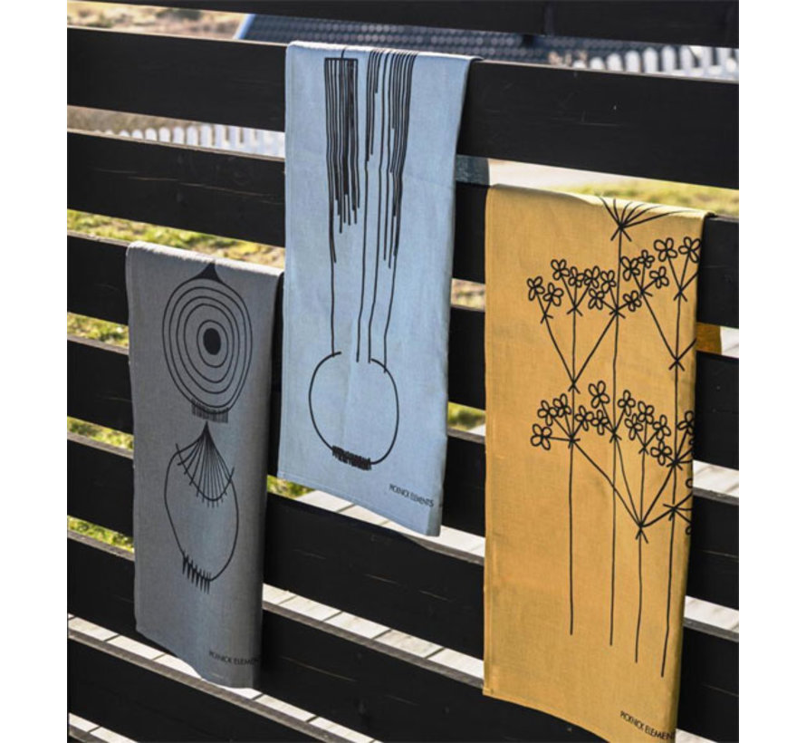 okerkleurige theedoek Picknick Elements bloemenpatroon