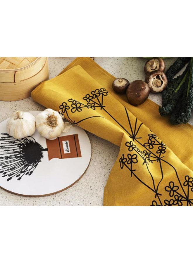 ocher colored tea towel Picnic Elements flower pattern