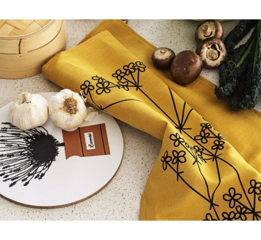 ocher colored tea towel Picnic Elements flower pattern